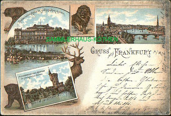 FRANKFURT am Main (Hessen) 3 Ansichten, Tiere, 1897 gelaufene  LITHO - 22,00 EUR