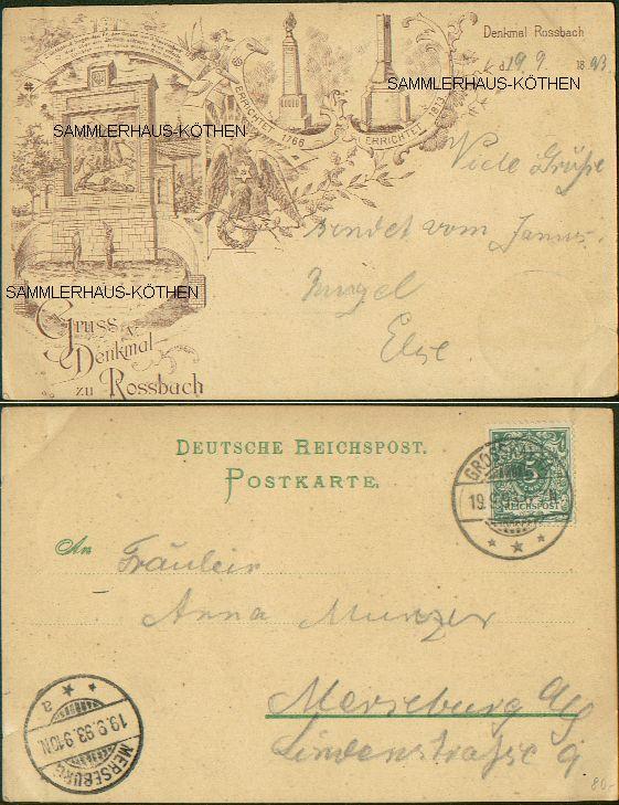 Denkmal zu Rossbach, 2                                       Ansichten, 1893(! Vorläufer)                                       gelaufen - 40,00 EUR