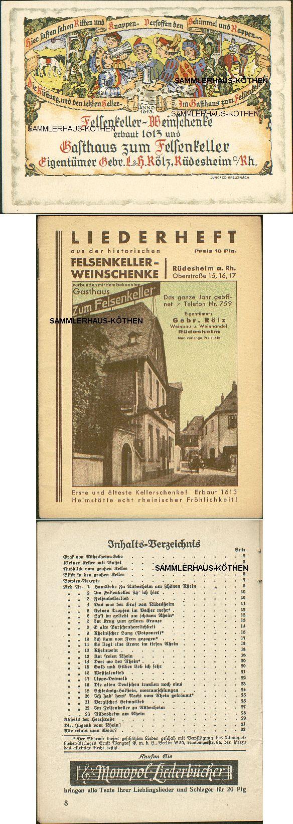 RÜDESHEIM: AK +                                       interessantes Liederheft                                       Weinschenke, von 1924 - 15,00 EUR