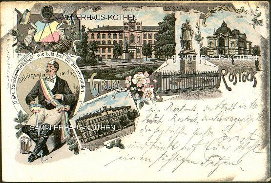 ROSTOCK: 5 Ansichten,                                       Stadtschule u. a., 1897 gelaufene                                       LITHO - 15,00 EUR