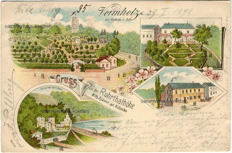 VORMHOLZ bei Herbede: 4 Ansichten von der Ruhrthalhöhe, 1899 gelaufene LITHO - 18,00 EUR